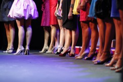 (Evan Witek | Muskegon Chronicle)  Stepping out: Shoe and dress coordination is carefully planned by all of the contestants at the Miss Michigan Pageant Wednesday evening.
