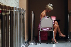 (Evan Witek | Muskegon Chronicle)  End of reign: Miss Michigan 2009 Nicole Blaszcyk goes over her cards before going on stage for the opening of the 2010 Miss Michigan Pageant on Wednesday.
